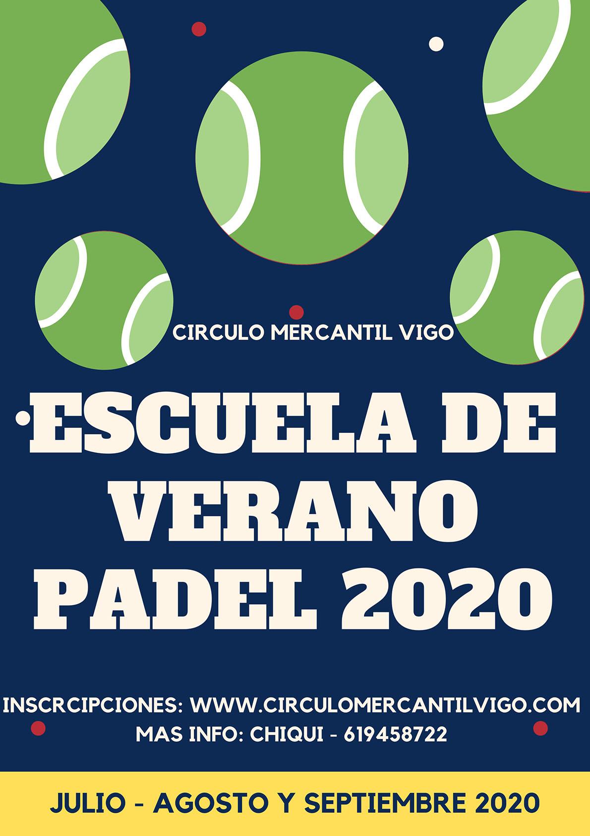 CARTEL ESCUELA DE VERANO PADEL 2020
