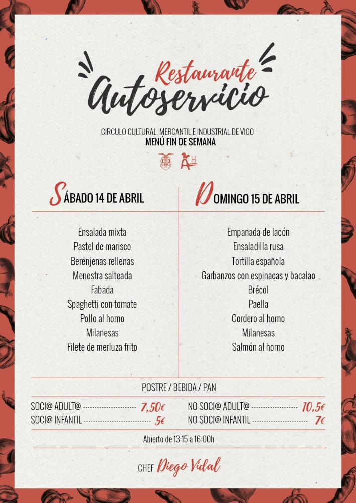 Menú fin de semana (14 y 15 de abril)