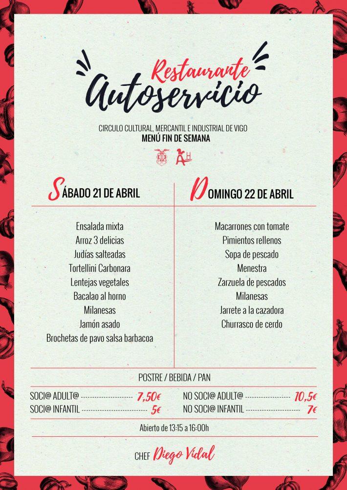 Menú fin de semana (21 y 22 de abril)