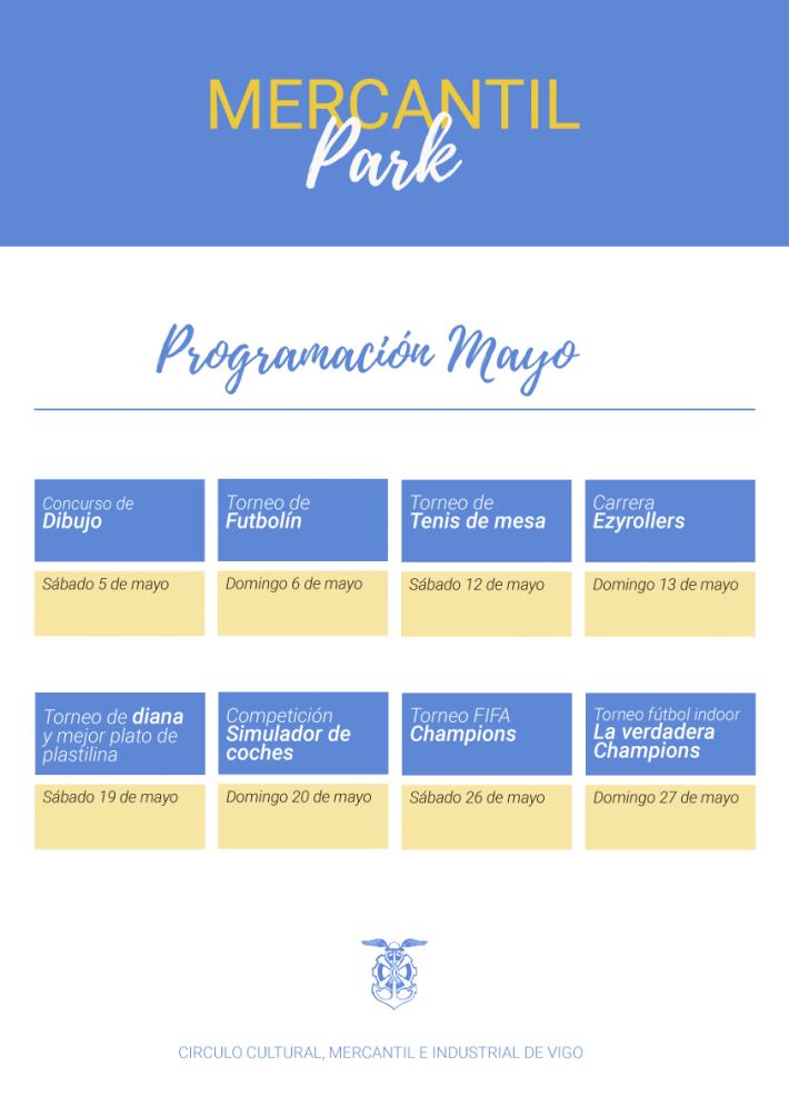 Programación Mayo. Mercantil Park